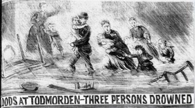 Cartoon: 1870 floods in Todmorden.