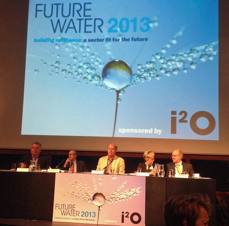 Photo: Future Water 2013 [L-R] Alan Sutherland (Chief Exec, Water Commission for Scotland), Tony Smith (Chief Exec, Consumer Council for Water), John Vidal (The Guardian), Anne McIntosh MP (Chair, HoC EFRA Select Committee), Ian Barker (Head of Water, Land and Biodiversity, EA)