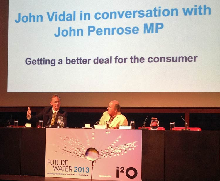 Photo: John Penrose MP in conservation with John Vidal at Future Water 2013.