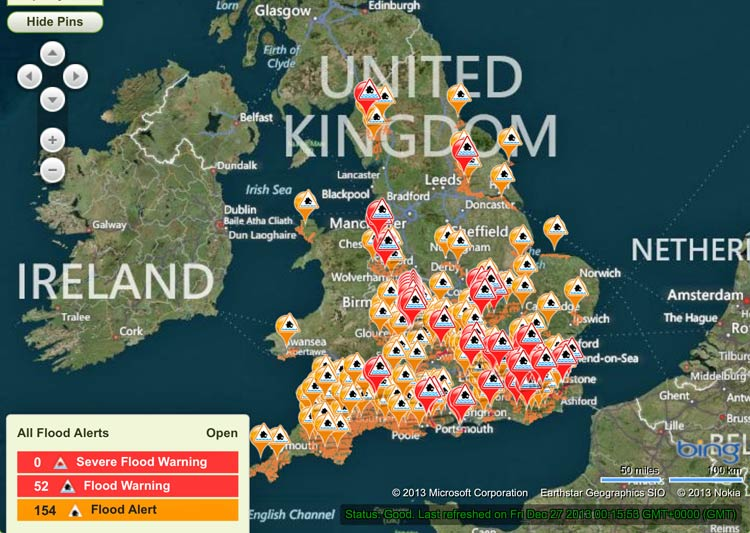 Photo: The EA's rather alarming-looking flood alert map for England and Wales on 27 December 2013