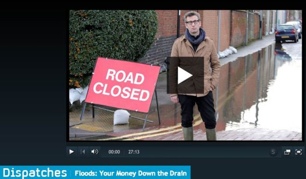 Photo: C4 Dispatches documentary episode about the recent floods, their foul flooding impacts, and water sector investments in the UK.