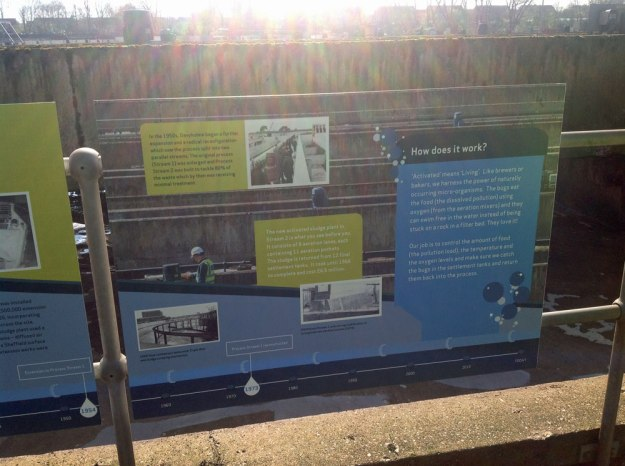 Photo: Display boards describing the invention and operation of the activated sludge process at Davyhulme.