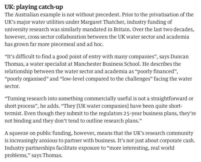 Photo: Passage where Oliver mentions some of my views on UK water sector research and innovation, and links with universities.