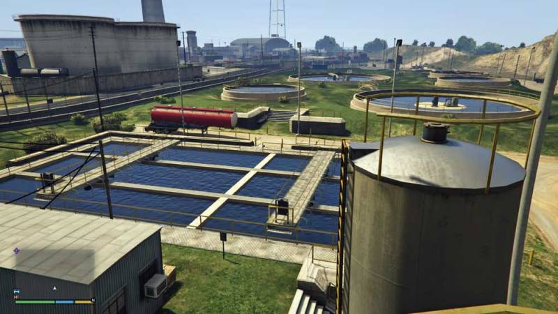 Photo: Wastewater treatment works in GTA V.