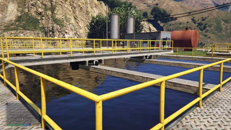 Photo: Treatment lanes at the wastewater plant in GTA V.