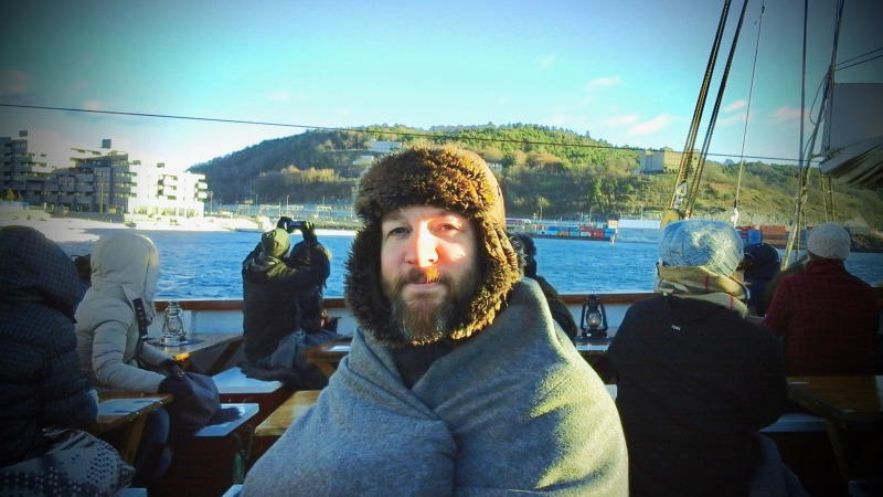 Photo: Me wrapped up on the Oslofjord.